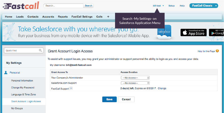 FastCall may ask you to grant support access in Salesforce