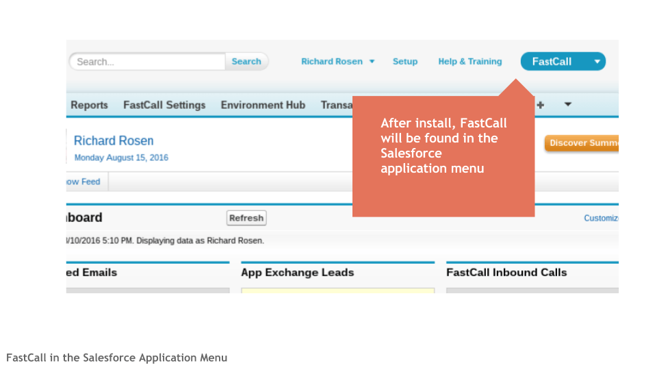 FastCall in the Salesforce Application Menu