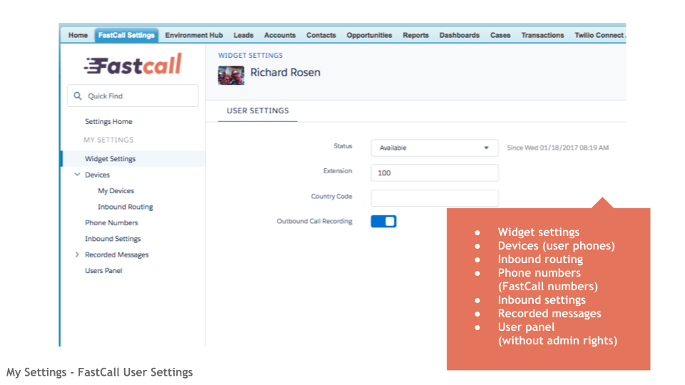 My Settings - FastCall User Settings