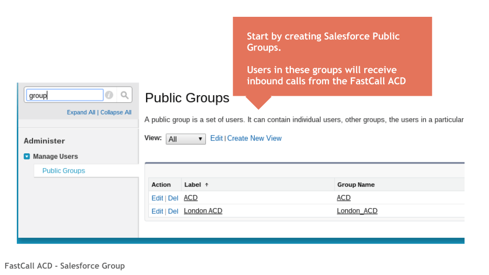 Salesforce Group used by FastCall ACD