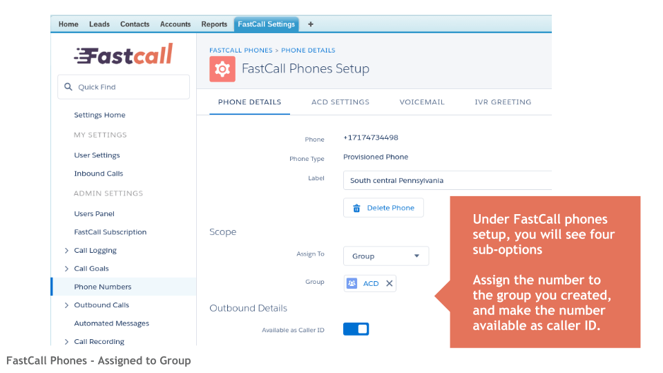FastCall ACD Assign Phone to Salesforce Group