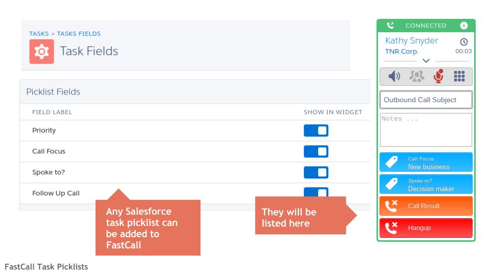 FastCall Task Picklist