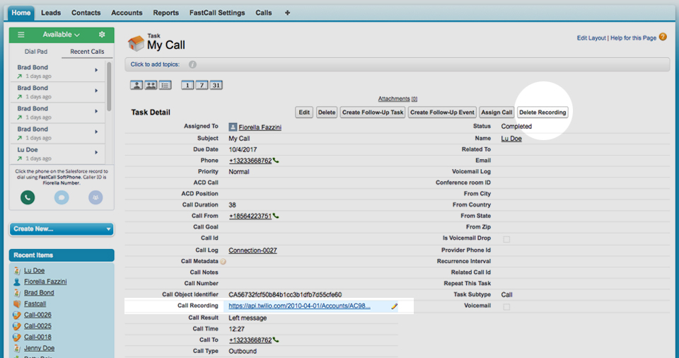 Fastcall - Outbound and Inbound Call Recording