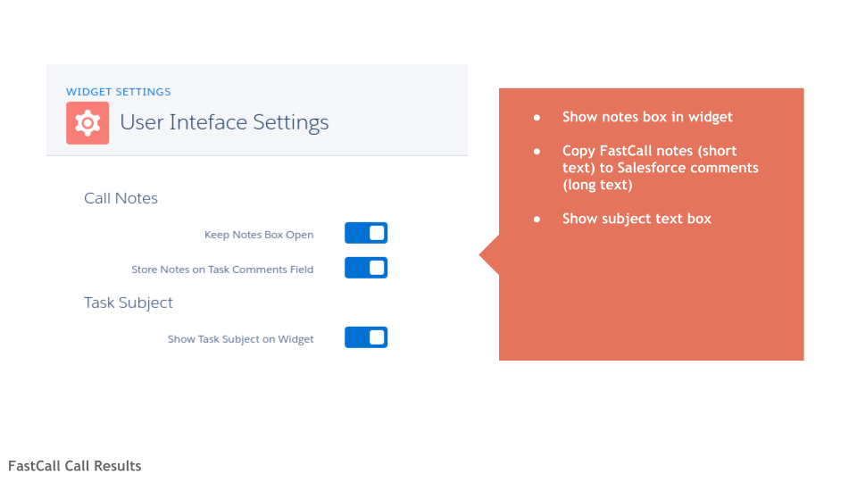 FastCall User Interface Settings