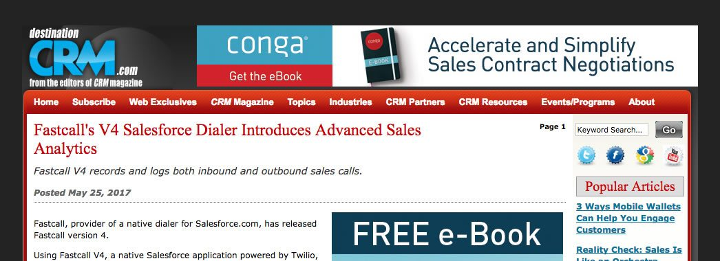 Fastcall's V4 has been in DestinationCRM.com