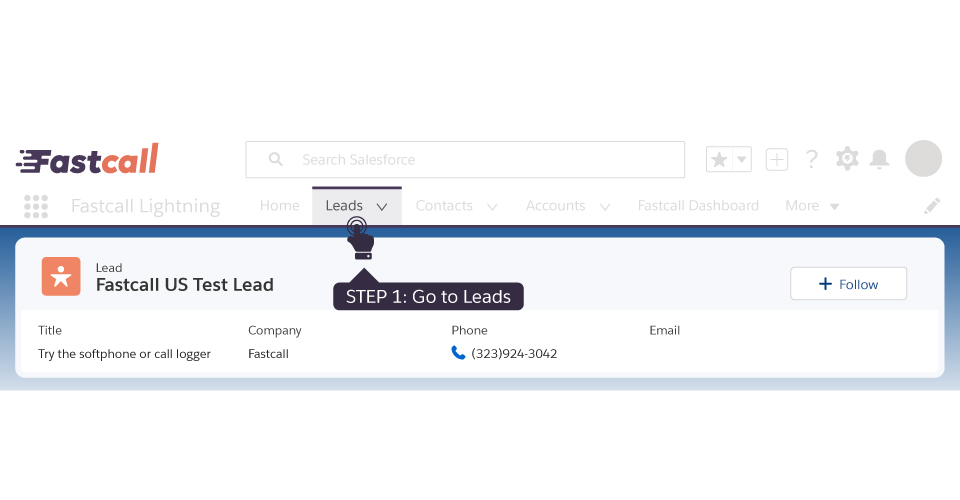 Look for a lead name: Test Lead