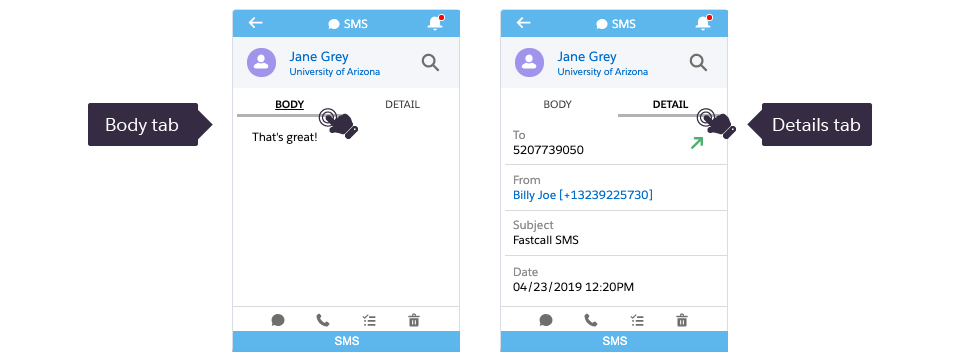 On the SMS detail screen, you have the option to navigate to the Salesforce Task.