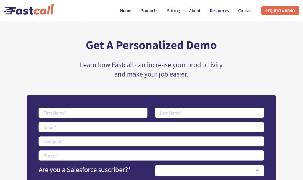 Request a Demo form